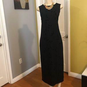 Vintage Velvet Stretching Shift Maxi Dress
